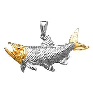 Silver and 14k Gold 2D Tarpon Fish Charm Pendant